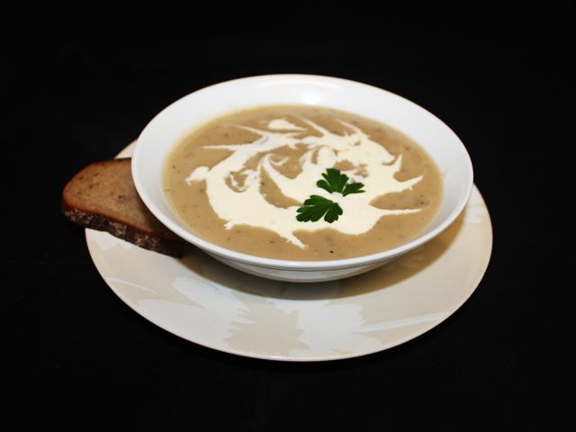Creamy wild mushroom soup