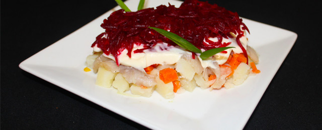 Traditional Russian herring salad