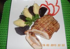 Grilled pork with mince filling