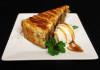 Homemade honey cake with ice- cream