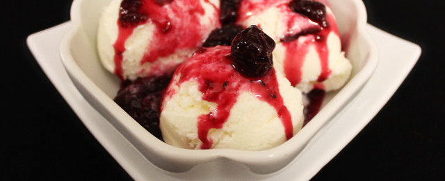 Ice-cream with chef's own fruit compote