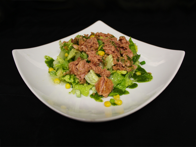 Tuna chunks, served on a bed of seasonal salad
