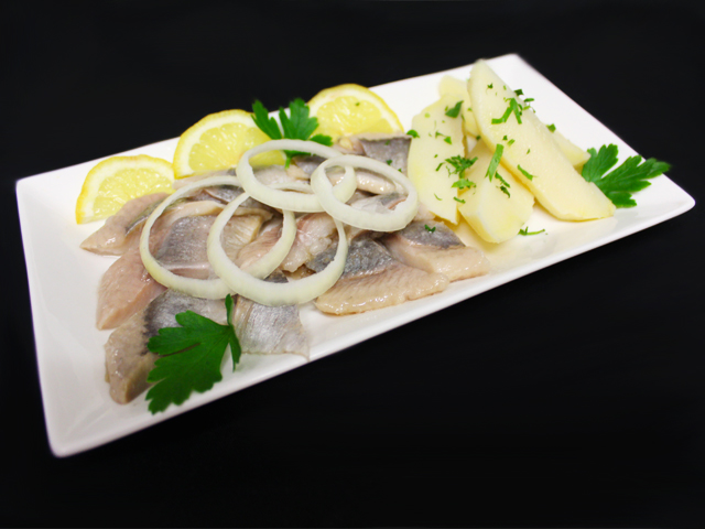Special herrings served with potato