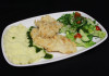 White fish seasoned and baked with toasted almonds, served with mashed potato and seasonal salad