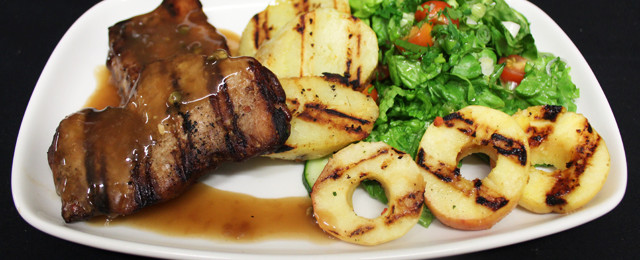 Grilled wild boar in chef's own sauce
